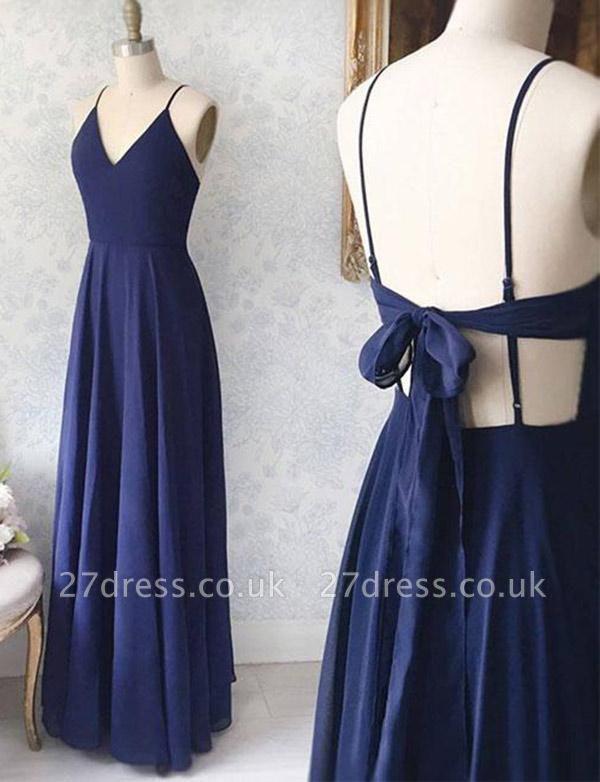 V-Neck Navy Blue Sexy Spaghetti Straps A-Line Long Prom Dress UK UK with Bowknot