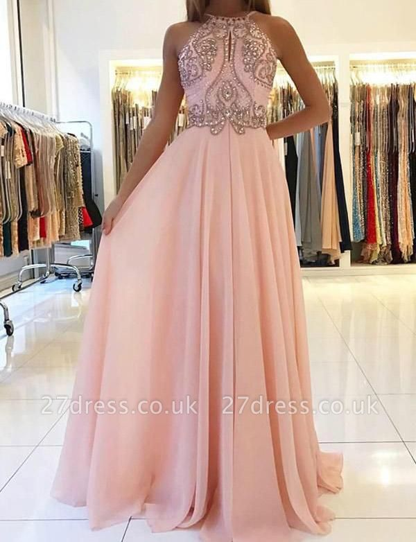 Modern A-Line Spaghetti Straps Beading Pink Long Prom Dress UK UK