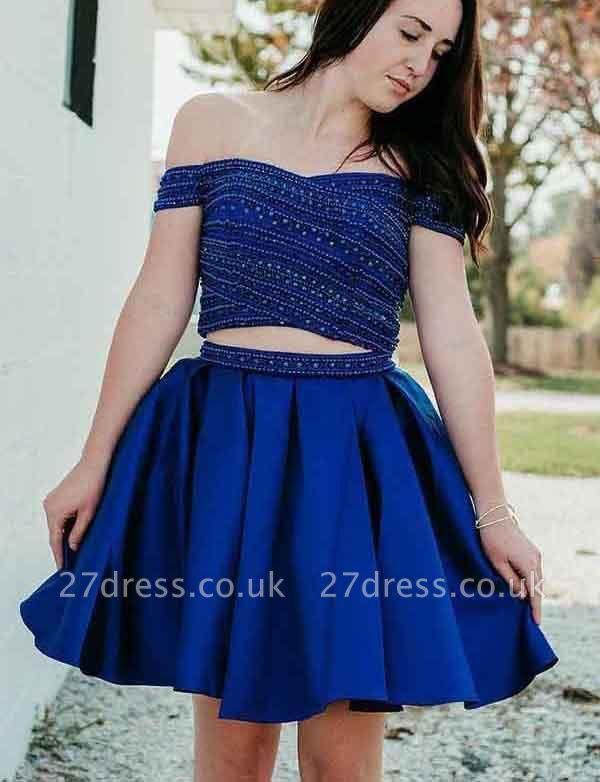 Crop top A-Line Beads Off-the-Shoulder Mini length Prom Dress UK UK