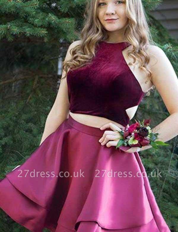 Crop top A-Line Halter Sleeveless Lace Mini length Prom Dress UK UK