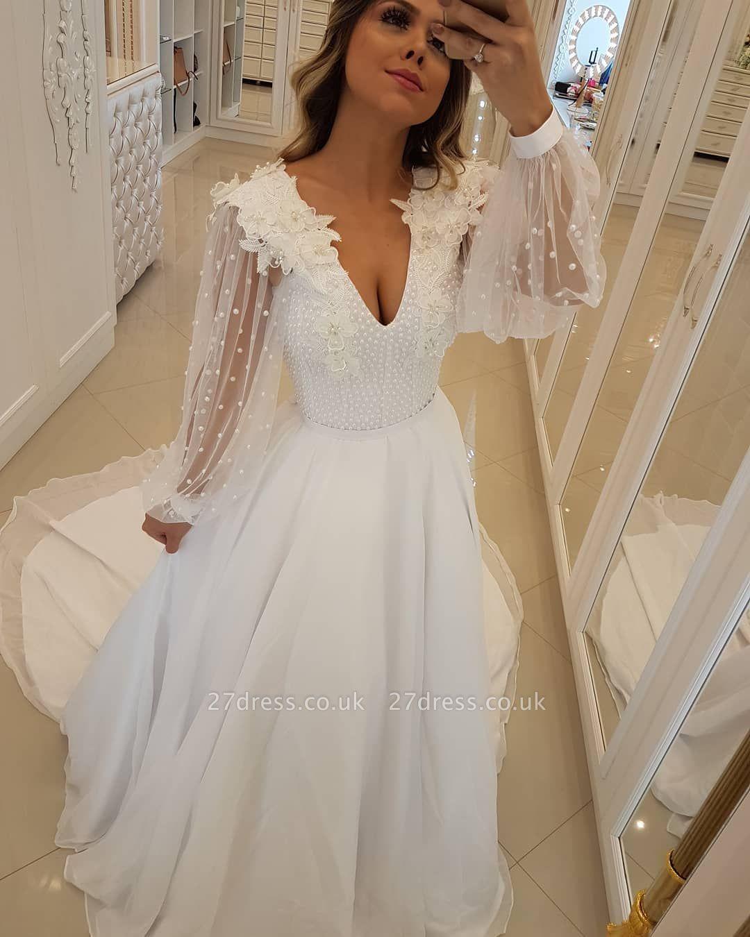 Modern Long Sleeves Beading Tulle A-Line Flower Prom Dress UK UK