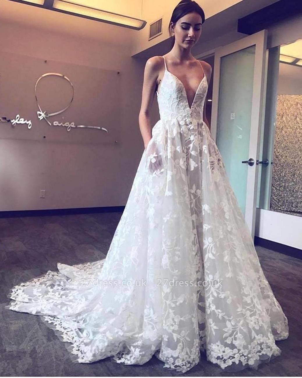 V-Neck Spaghetti Straps Tulle Applique Court Train Wedding Dresses UK