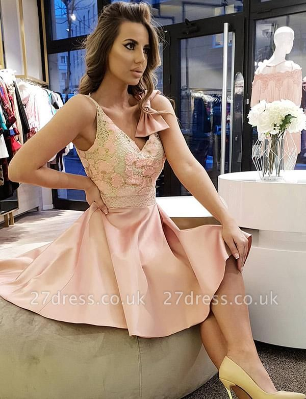 Trendy Bow A-Line Lace V-Neck Sleeveless Short Prom Homecoming Dress UK