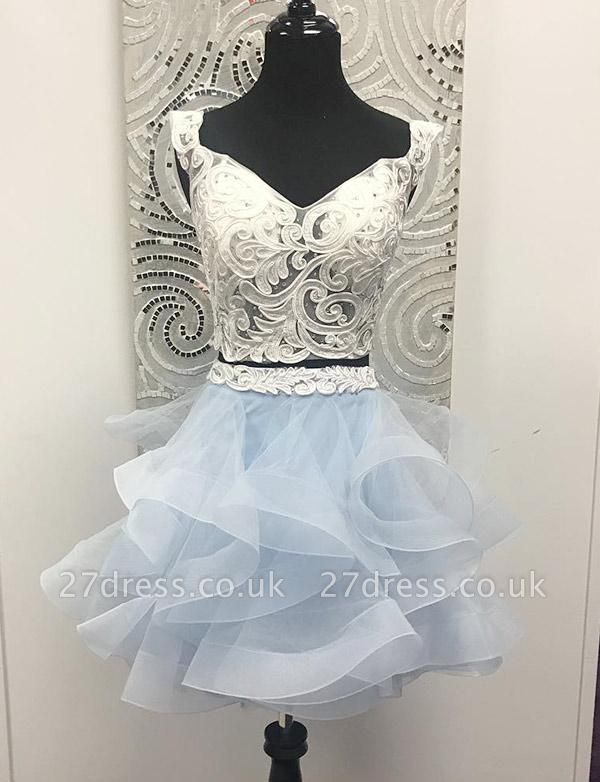 Crop top Sleeveless A-Line Appliques V-Neck Organza Short Prom Homecoming Dress UK