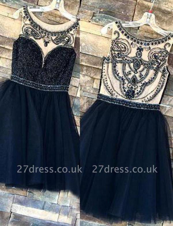Trendy Beads Sleeveless Jewel Tulle A-Line Short Prom Homecoming Dress UK