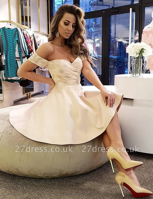 Sexy A-Line Lace Off-the-Shoulder Sleeveless Short Prom Homecoming Dress UK