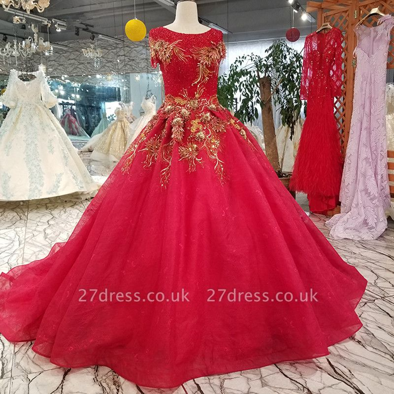 Beads Applique Round Neck Short Sleeves A-Line Court Train Prom Dress UK UK