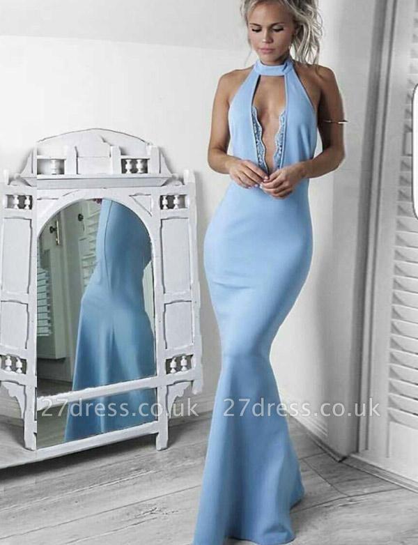 Fabulous Lace High Neck trumpt Long Sleeveless Prom Dress UK UK