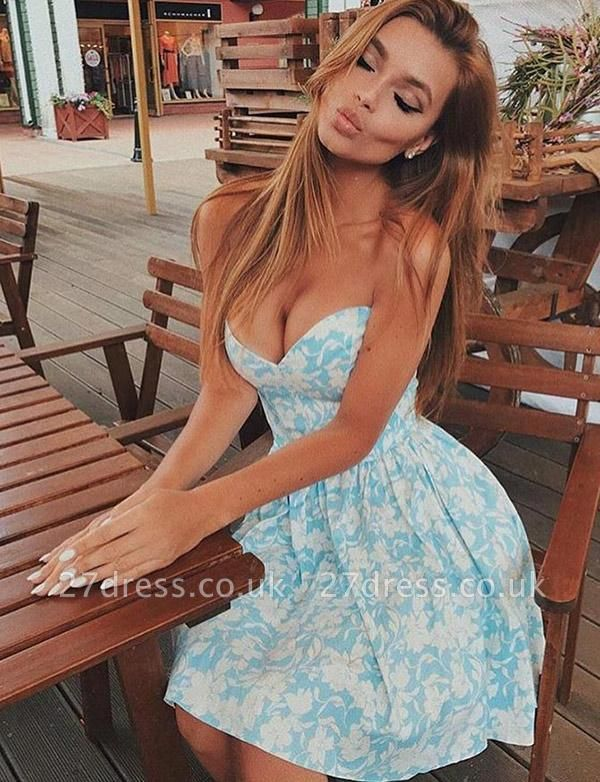 Stunning Hot A-Line Floral Print Cute Sweetheart Short Prom Homecoming Dress UK