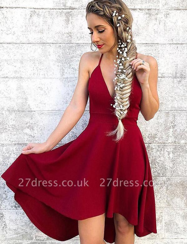 Stunning A-Line Halter V-Neck Hi-lo Prom Dress UK UK