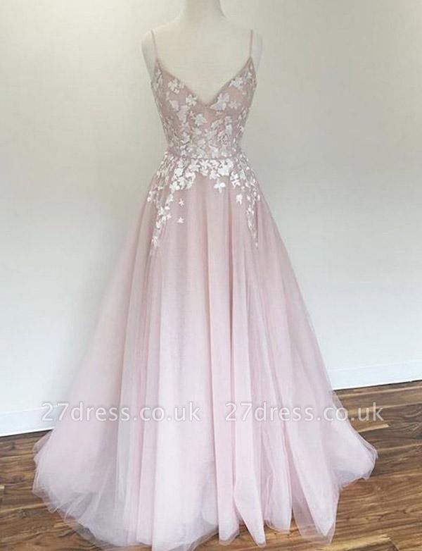 Charming A-Line Appliques Spaghetti Straps Long Prom Dress UK UK