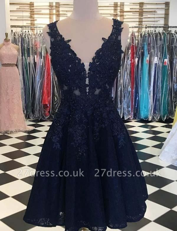 Stunning Sleeveless A-Line Appliques V-Neck Mini length Prom Dress UK UK
