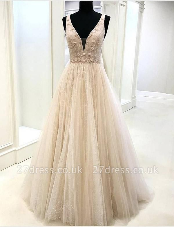 Gorgeous V-Neck Appliques Sleeveless A-Line Tulle Evening Dress UK