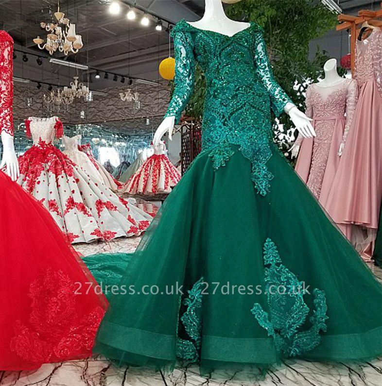 Mermaid Beads Chapel Train Long Sleeves Tulle Applique Prom Dress UK UK