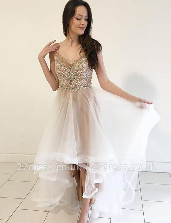 Gorgeous Spaghetti Straps A-Line Beads Tulle Homecoming Dress UK