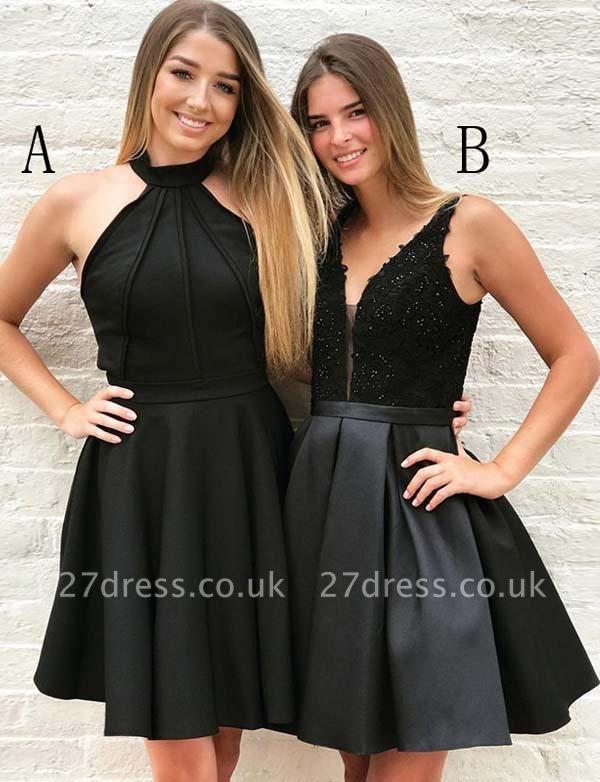 Stunning Halter V-Neck A-Line Appliques Mini length Prom Dress UK UK