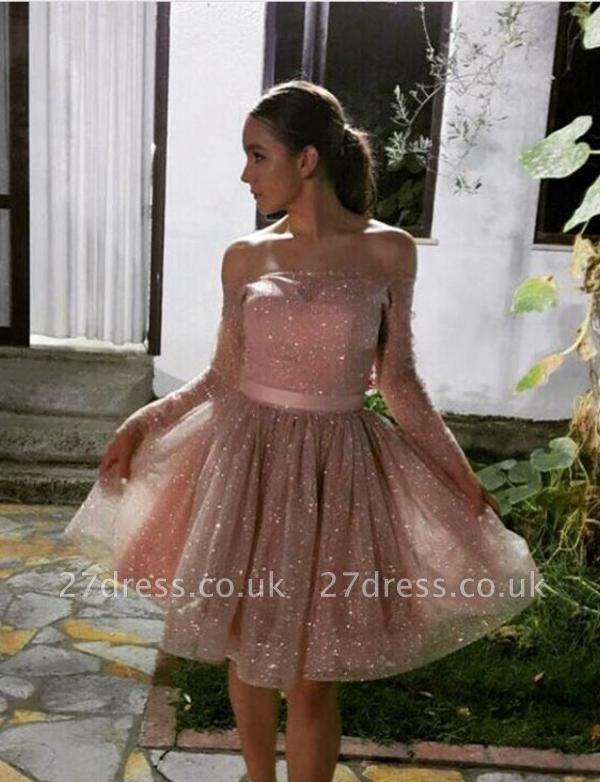 New Arrival Long Sleeves A-Line Strapless Off-the-Shoulder Short Prom Homecoming Dress UK