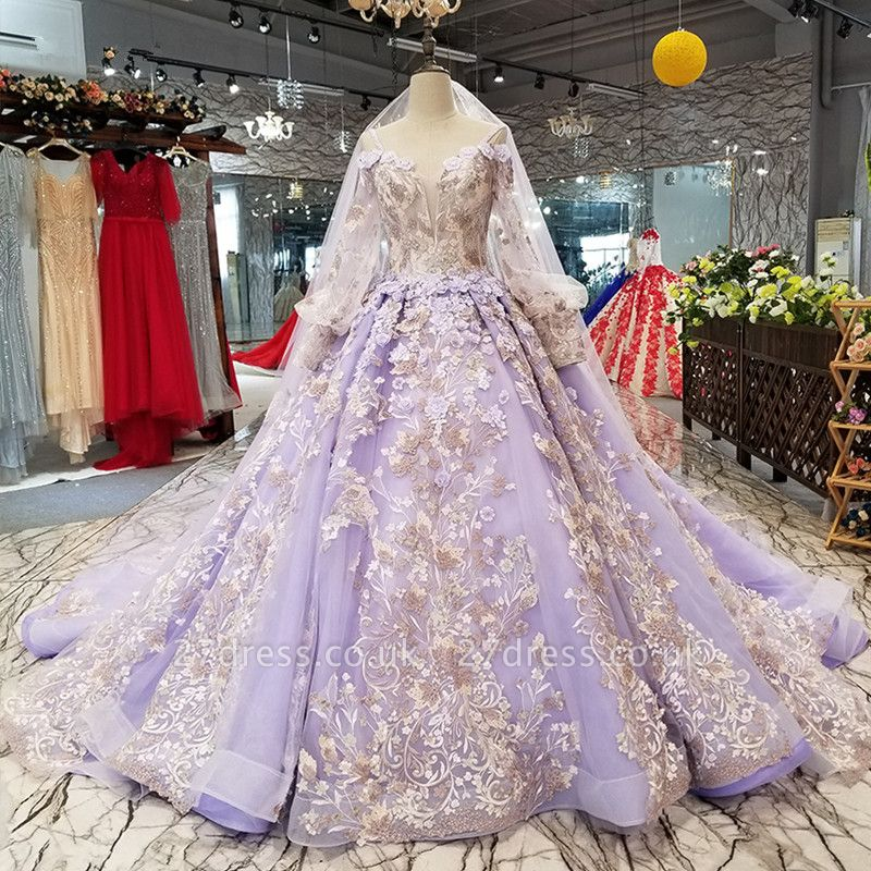 Ball Gown Spaghetti Straps Long Sleeves Court Train Applique Prom Dress UK UK