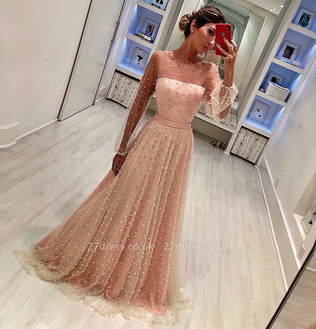 Round Neck Long Sleeves A-Line Tulle Sash Prom Dress UK