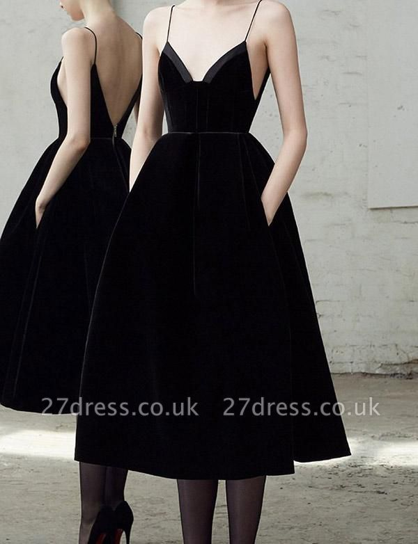 Unique A-Line Zipper Spaghetti Straps Tea-Length Homecoming Dress UK