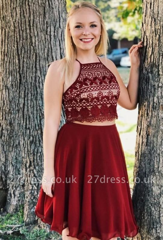 Crop top Spaghetti Straps A-Line Lace Lace-up Short Prom Homecoming Dress UK