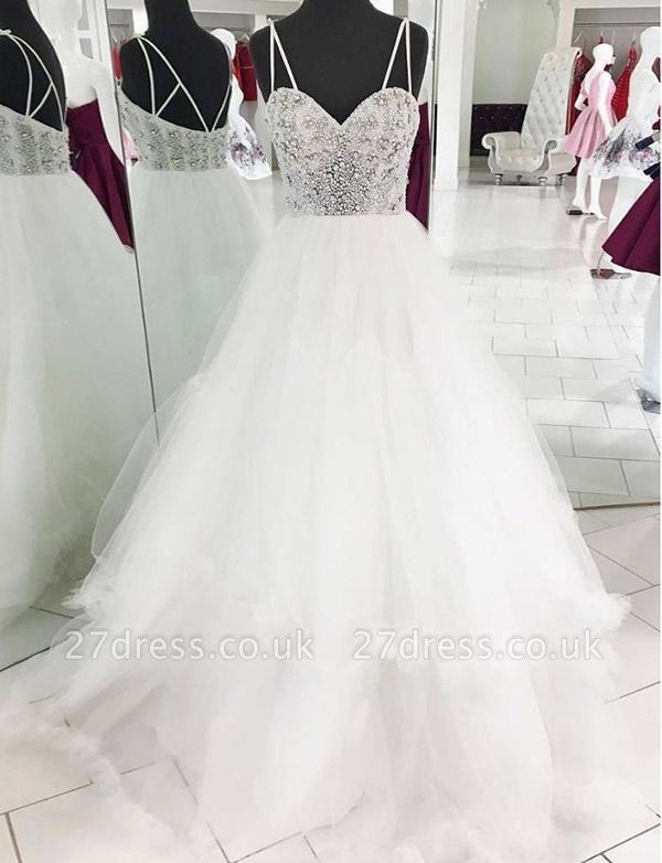 Luxury Tulle Spaghetti Straps A-Line Beading White Long Prom Evening Dress UK