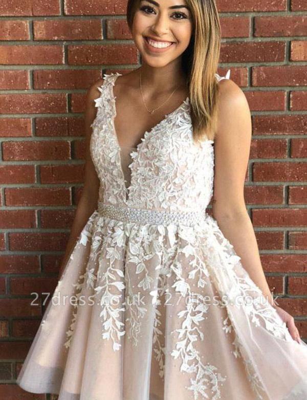 Luxury Sleeveless A-Line Appliques V-Neck Short length Prom Dress UK UK