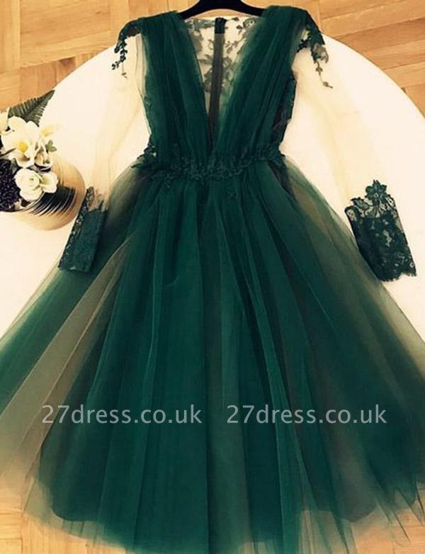 Modern A-Line Appliques V-Neck Tulle Sleeveless Short length Prom Dress UK UK