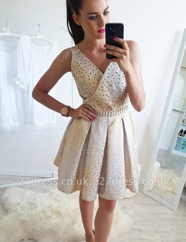 Stunning Sleeveless A-Line Beads V-Neck Short Prom Dress UK UK