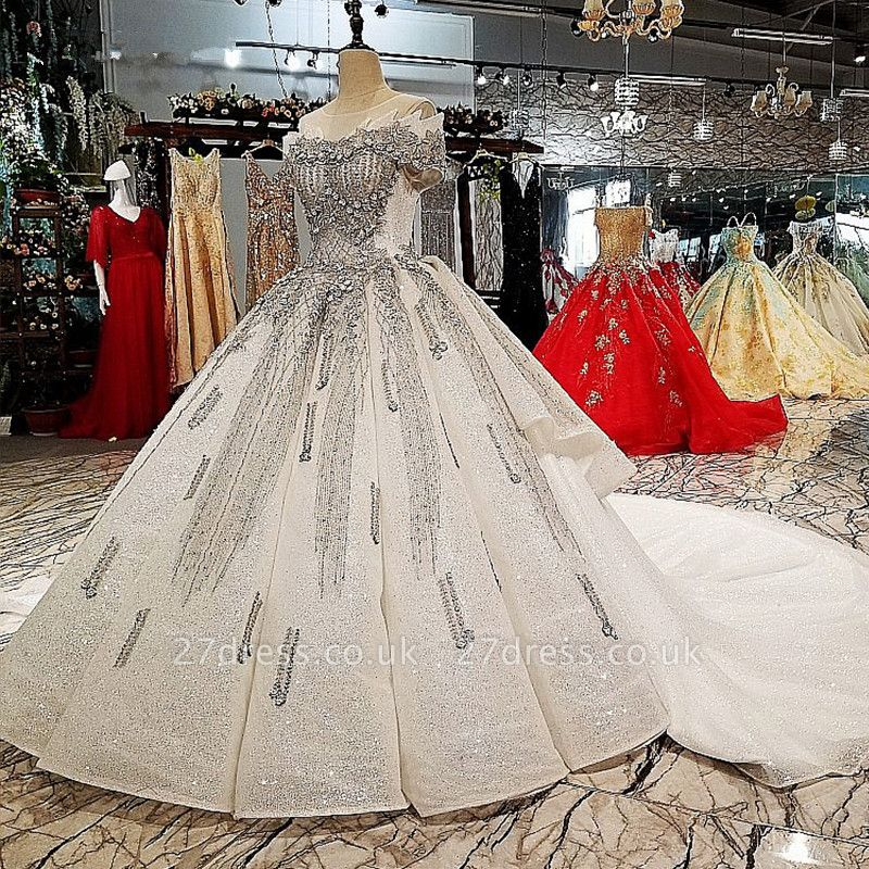 Organza Applique Ball Gown Chapel Train Short Sleeves Prom Dress UK UK