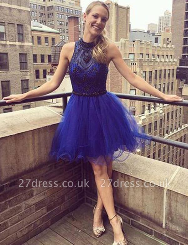 Modern A-Line Beading High Neck Tulle Sleeveless Short length Prom Dress UK UK