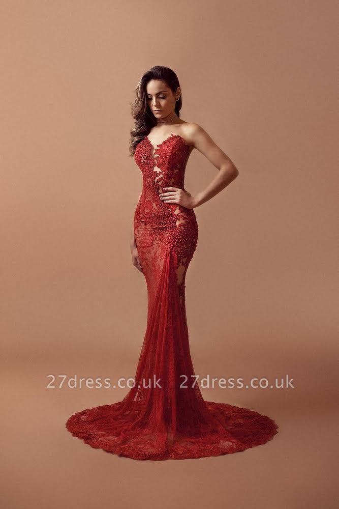 Red Lace Beading Prom Dress UKes UK Sleeveless Mermaid Elegant Evening Gowns