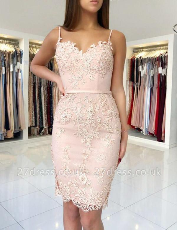 Trendy Column Appliques Spaghetti Straps Cute Sweetheart Prom Dress UK UK