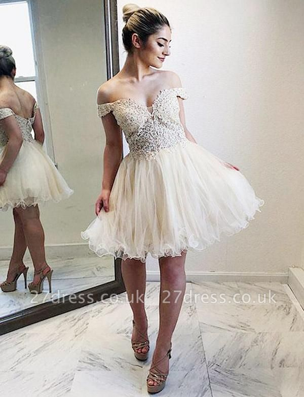 Stunning Tulle A-Line Appliques Off-the-Shoulder Mini length Homecoming Dress UK