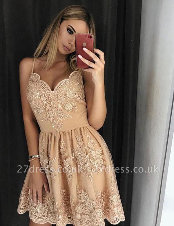 Trendy Lace A-Line Spaghetti Straps Appliques Mini length Prom Dress UK UK
