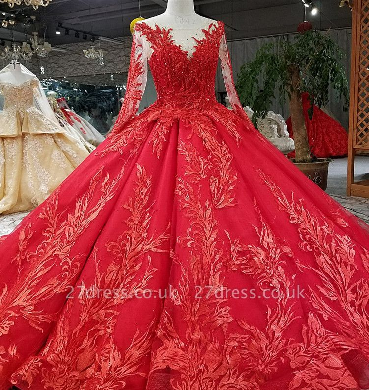 Ball Gown Long Sleeves Bow Applique Tulle A-Line Round Neck Prom Dress UK UK