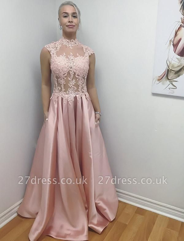 Different High Neck A-Line Sleeveless Appliques Long Evening Dress UK
