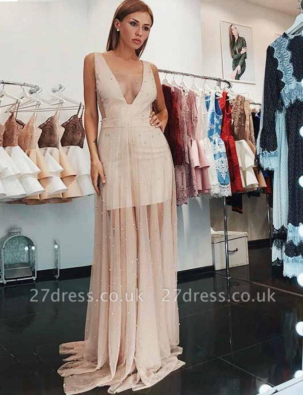 Chaming V-Neck Sleeveless Tulle A-Line Beading Champagne Prom Dress UK UK