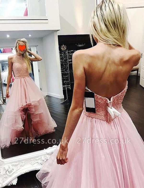 Modern Tulle A-Line Beading Halter asymmetric Prom Dress UK UK