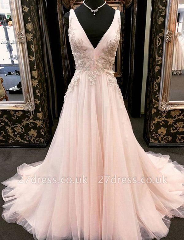 Luxury Appliques A-Line Tulle V-Neck Long Sleeveless Prom Dress UK UK