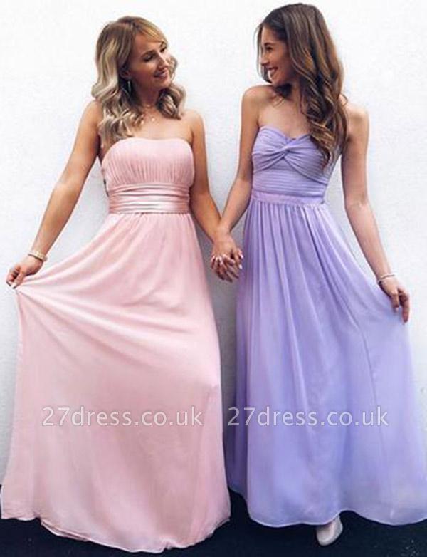 Modern A-Line Strapless Flowy Chiffon Long Pretty Prom Dress UK UK