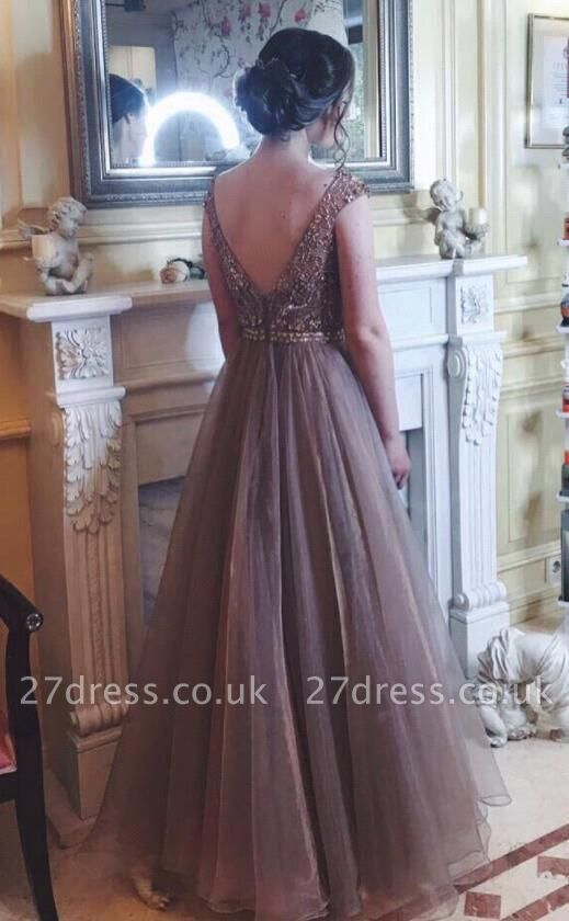 Chocolate Crystals A-Line Tulle Sweep Train Prom Dress UK