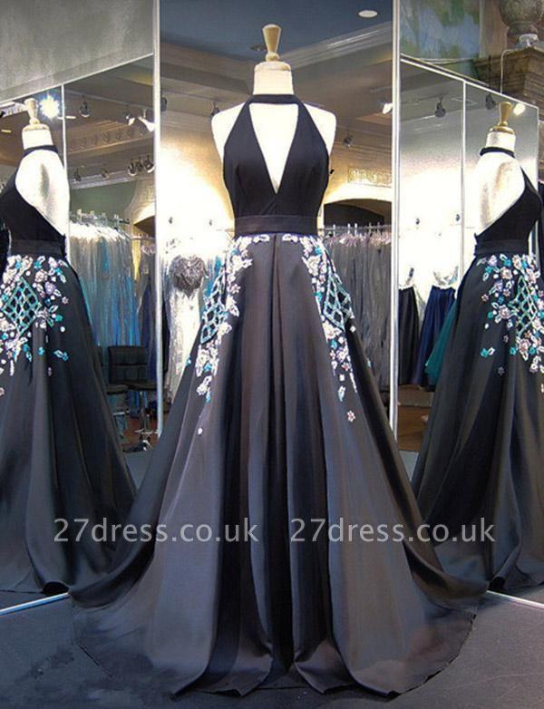 Gorgeous A-Line Appliques Halter V-Neck Long Evening Dress UK