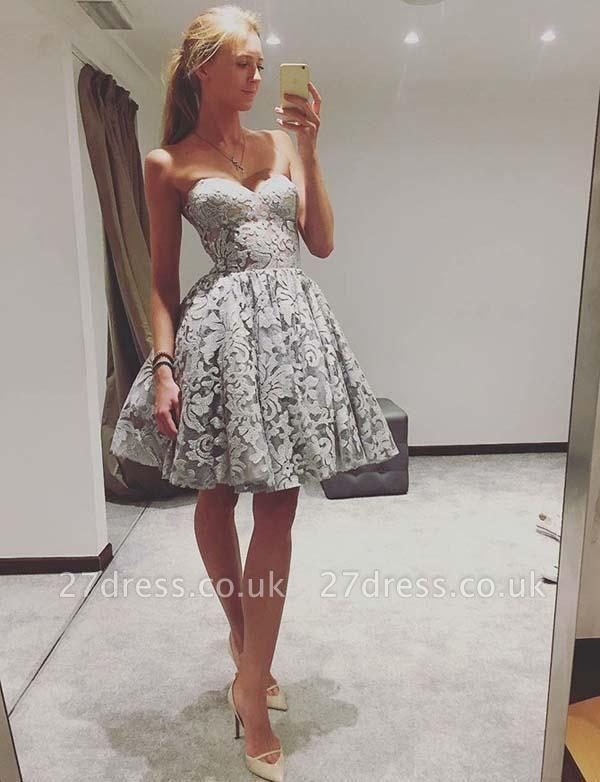 Modern A-Line Cute strapless Sleeveless Lace Mini Prom Dress UK UK