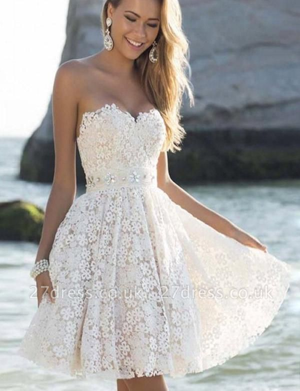 Stunning Cute Sweetheart A-Line Lace Flower Short Prom Homecoming Dress UK