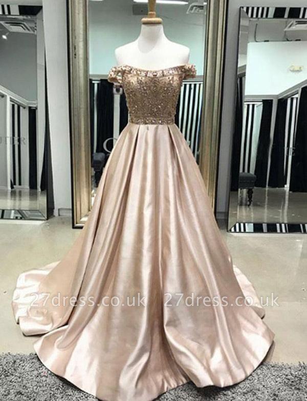 Luxury A-Line Beading Off-the-Shoulder Pocket Long Prom Dress UK UK