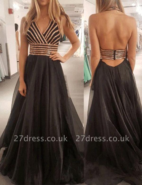 Modern A-Line Halter Sequins Sleeveless Black Tulle Long Prom Dress UK UK