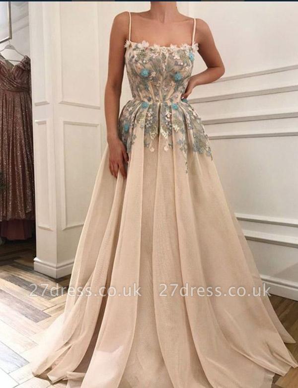 Gorgeous Spaghetti Straps A-Line Appliques Long Prom Evening Dress UK