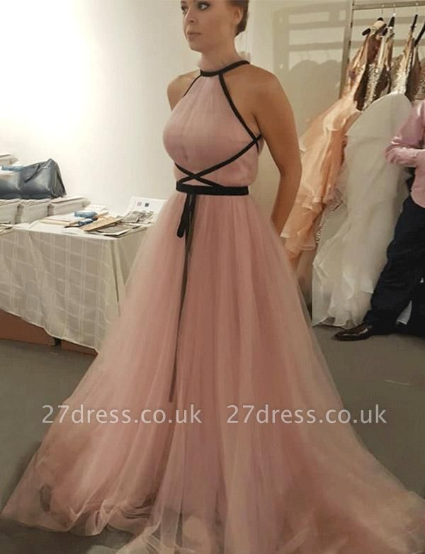 Different Sleeveless High Neck Tulle A-Line Pink Long Prom Evening Dress UK