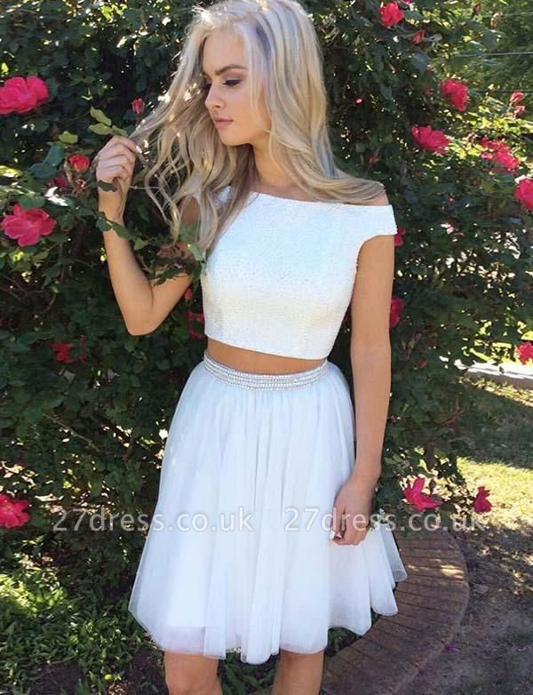 Sexy Off-the-Shoulder Crop top Beads A-Line Mini length Prom Dress UK UK
